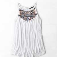 AEO Women's High Neck Embroidered Tank