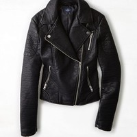 AEO Women's Vegan Leather Moto Jacket (Black)