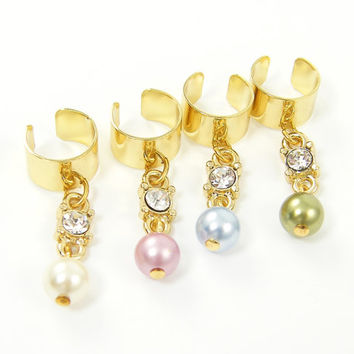 Gold Ear Cuff, Pearl Ear Cuff, Rhinestone Ear Cuff Pink White Green Blue