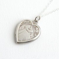 Vintage Sterling Silver Heart Locket Necklace - 1940s Sweetheart Etched Jewelry Hallmarked Bliss Brothers Co.