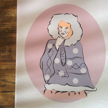 Ilustration Print Sweet Inuit Girl art Cute eskimo (A4)