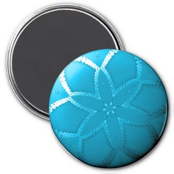 Flower Button Blue 2 Refrigerator Magnet