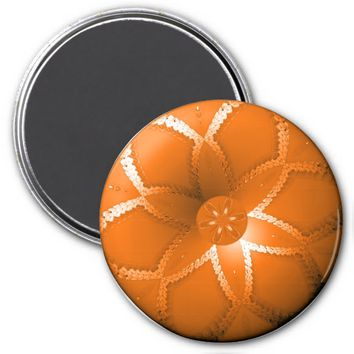 Flower Button Orange 1 Refrigerator Magnet