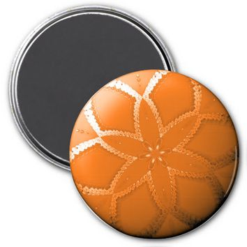 Flower Button Orange 2 Refrigerator Magnet