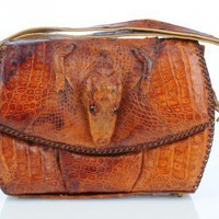 Alligator Handbag with head feet | VintageAnelia - Bags &amp; Purses on ArtFire