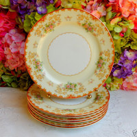 7 Beautiful Vintage Noritake Dinner Plates ~ Floral ~ Red ~ Gold ~ Scrolls
