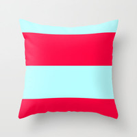Ice Blue and Red Pillow Cover, 18x18 pillow cover, indoor or outdoor pillow cover, Blue Pillow Cover, Red Pillow Cover