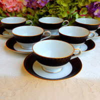 6 Beautiful Vintage Noritake Cups & Saucers ~ Black ~ Gold ~ Scrolls