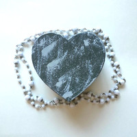 Grey shabby chic rustic style heart shaped jewelry box for home decor