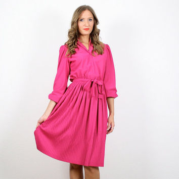 Vintage Pink Dress Pleated Skirt Dress Secretary Dress Midi Dress Midi Skirt Belted Shirtdress Shirt Dress S M Fuschia Raspberry Berry Pink
