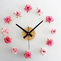 Fresh Rural Style DIY Romantic Rose Quartz Wall Stickers Funny Flower Clock for Room Decoration Unique Gift Free Shipping (pink)