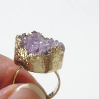 Purple Gold Plated Druzy Ring, Amethyst Druzy Drusy Crystal Quartz Adjustable  Gold Dipped Rings, Bohemian Gypsy Chic