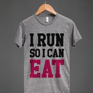 I RUN SO I CAN EAT T-SHIRT PINK BLACK ID7251145
