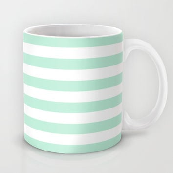 Stripe Horizontal Mint Green Mug by BeautifulHomes | Society6