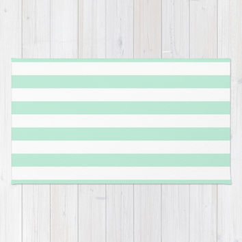 Stripe Horizontal Mint Green Area & Throw Rug by BeautifulHomes | Society6