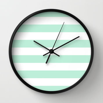 Stripe Horizontal Mint Green Wall Clock by BeautifulHomes | Society6