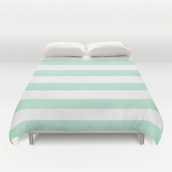Stripe Horizontal Mint Green Duvet Cover by BeautifulHomes | Society6