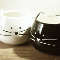 Moyishi Lovely Cute Little White Cat Coffee Milk Ceramic Mug Cup Christmas Birthday Best Gift