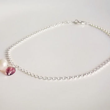 sterling silver anklet with white freshwater pearl floating charm, sterling amethyst anklet, floating pearl anklet, floating heart anklet