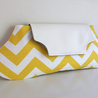 Yellow and white chevron oblong clutch by foundbymarie on Etsy