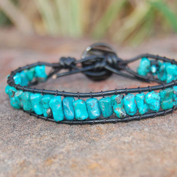 Genuine Turquoise Wrapped Black Leather by authenticaboutique