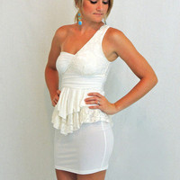 White One Shoulder Lace Peplum Dress - $39.00 | Daily Chic Dresses | International Shipping