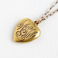 Vintage 10k Gold Filled Monogrammed Heart Pendant Necklace- 1940s WWII Era Sweetheart Initial MSM Jewelry