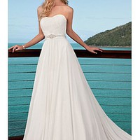 Buy discount Elegant A-line Chaple Chiffon Wedding Dress For Your Beach Wedding at dressilyme.com