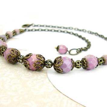 Vintage Style Lavender Lilac Necklace - Antique Style Boho Necklace - Czech Bead Necklace - Purple Amethyst Luster Antique Brass Necklace
