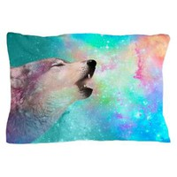 Galactic Wolf Howl (mint/multi) Pillow Case> Pillow Cases> soaring anchor designs