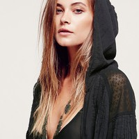 Free People Womens Sparks Fly Jacket - Washed Black,