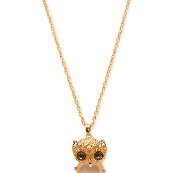 Rhinestoned Owl Chain Necklace