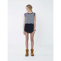 THE FIFTH Modest Life Top IVORY/NAVY STRIPE