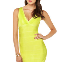 V-Neck Bandage Dress in Neon Yellow