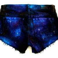 Made to Order Galaxy Hand Painted Custom Cut Offs Shorts by GirlMeetsClothes on etsy