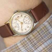 Mid century men's watch Pobeda\Victory unisex watch silver gold shades watch classic premium leather strap watch USSR
