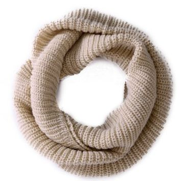 HDE Women's Pashmina Blend Chunky Ribbed Knit Winter Infinity Circle Scarf Cowl,One Size,Black.Black