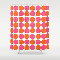 orange and hot pink dots Shower Curtain by her art