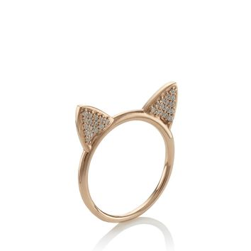 Rose Gold Cat Ears Ring | Aamaya By Priyanka | Avenue32