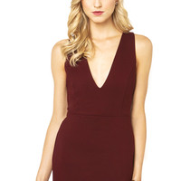 Six Crisp Days Deep V Luxe Ponte Bodycon Dress in Wine