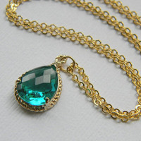 Bridesmaid Necklace Sea Green Necklace Gold Filled by DanaCastle