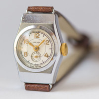 Mid century ladies watch Star mint condition watch very rare Soviet woman watch silver shade premium leather strap new