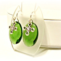 Green Crystal Earrings with Celtic Knot Charms