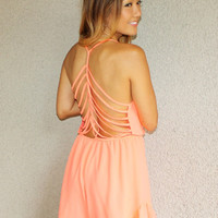 'Riviera' Cage Back Romper (Neon Orange)