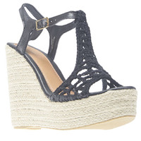 Braided Crochet Jute Wedge Sandals | Wet Seal