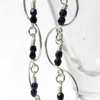 Chandelier Earrings, Beaded Earrings, Black & Silver Earrings, Prom 2015, Bridal Jewelry, Bridesmaid Gift, Delicate Earrings