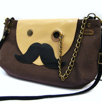 VEGAN Mr Mustache with Monocle Brown Cotton Cross Body by askidas