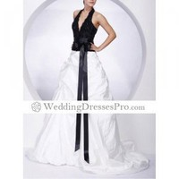 2012 Style Ball Gown Halter Court Train Sleeveless Lace Bow Taffeta Satin Evening/Prom Dress (TEDXL101) [TEDXL101] - &amp;#36;111.49 : wedding fashion, wedding dress, bridal dresses, wedding shoes