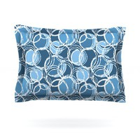 "Kess InHouse Julia Grifol ""Simple Circles in Blue"" Cotton Pillow Sham, 40 by 20-Inch"