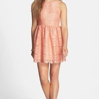Basil Lola Bow Back Lace Fit & Flare Dress (Juniors) | Nordstrom